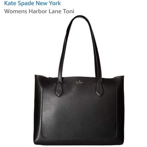 New Kate Spade black leather tote bag purse